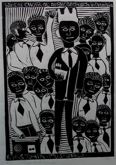 John Muafangejo, Winter Choir, Linocut, 56x40 cm