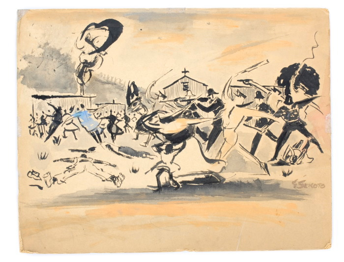 gerard sekoto, recollections of sharpeville, watercoulour on board, 32x41cm, 1960