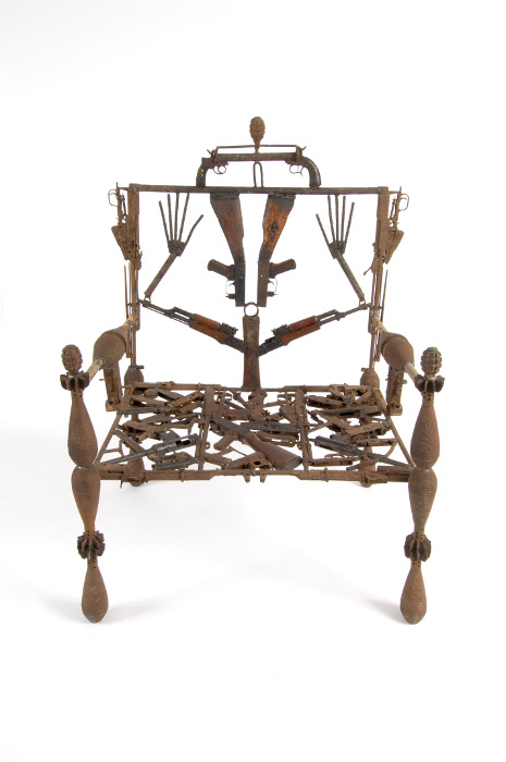 gonçalo mabunda, throne for an african king, metal and recycled weapons, 2004