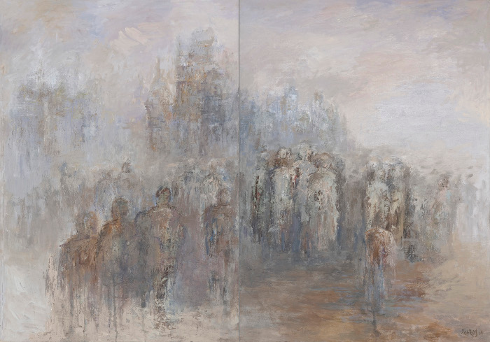 petros ghebrehiwot, crowded for cause, oil on canvas, 119x169.5cm, 2007
