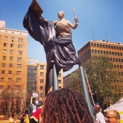 a monument to democracy on beyers naude square, johannesburg, south Africa, 2015
