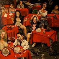 café des pigeons, oil on canvas, 100x81cm, 2013