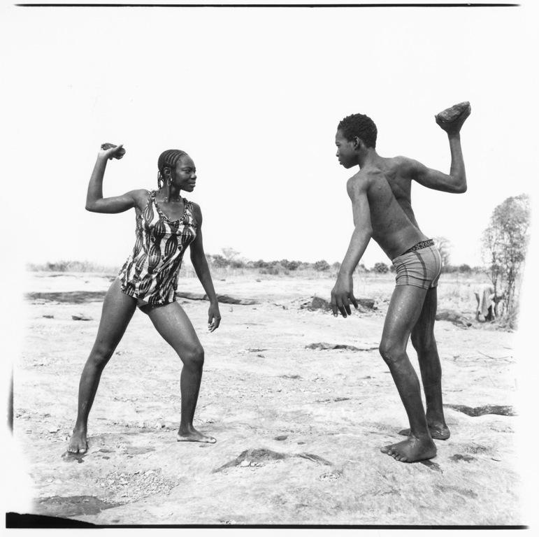 afronova gallery, malick sidibe, friends fighting with stones, 1976, hand printed fiber base silver gelatin print