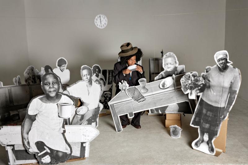 afronova gallery lebohang kganye the last supper, inkjet print on cotton rag paper, 64x90cm, 2013, edition of 5