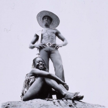 afronova gallery, malick sidibe, on the rocks at the chaussee, 1976, hand printed fiber base silver gelatin print