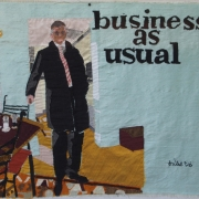 business as usual, silk tapestry, 39x45cm