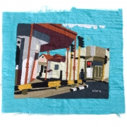 downtown nostalgia, silk tapestry, 50x44cm