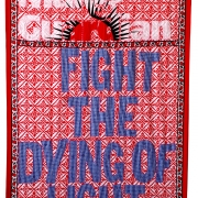fight the dying light, embroidery on kanga, 155x111 cm