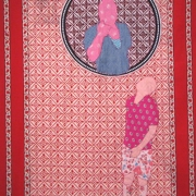 fortune teller 4, embroidery on kanga, 155x111cm