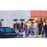 friday afternoon in nottinghill, silk tapestry, 103.5x44cm