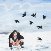 crows in the snow, oil on canvas, 80x100cm, 2009