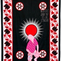 fortune teller, embroidery on kanga, 155x111cm, 2008