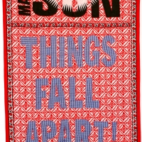 things fall apart, embroidery on kanga, 155x111cm, 2008