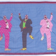 newsmaker of the year, embroidery on kanga, 107x203cm