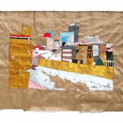 roof rendez-vous, silk tapestry, 50x72cm
