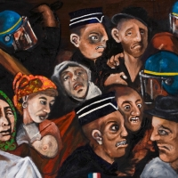 the expulsion of the roms, oil on canvas, 80x100cm, 2010