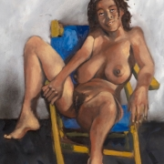 young woman on a deck chair, oil on canvas, 61x45cm, 2008