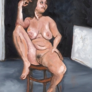 young woman on a stool, oil on canvas, 61x45cm, 2008