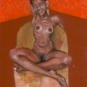 young woman on a wicker chair, oil on canvas, 61x45cm, 2008