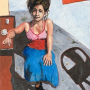 young woman on the old port, oil on canvas, 61x46cm, 2008
