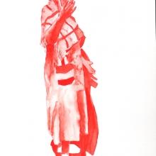 afronova gallery, senzeni marasela, waiting for gebane, watercolour, 59.5x42cm