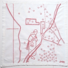 the mine cleaner, red thread on linen, 45x45cm, 2015