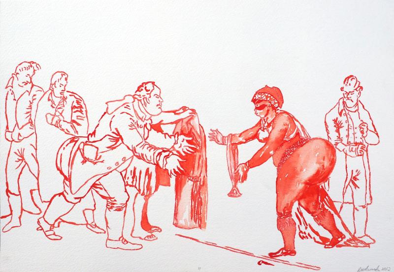 covering sarah baartman II, watercolour, 30x40.5cm, 2011