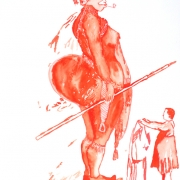 covering sarah baartman III, watercolour, 40x30cmcm, 2011