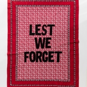 Lest we forget, embroidery on kanga, 155xx115 cm