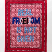 Real Freedom is not given, embroidery on kanga, 155xx115 cm
