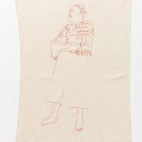 Waiting for Gebane, Embroidery on Kaffir Sheet, 150x90cm, 2017
