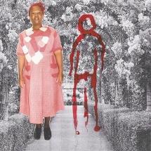 Izithombe Zendawo Esizithandayo 1, Photomontage and pen on photocopy, 16x21cm