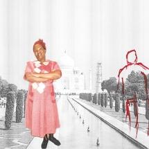 Izithombe Zendawo Esizithandayo 2, Photomontage and pen on photocopy, 16x21cm