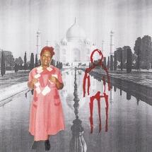Izithombe Zendawo Esizithandayo 4, Photomontage and pen on photocopy, 16x21cm