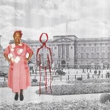Izithombe Zendawo Esizithandayo 5, Photomontage and pen on photocopy, 16x21cm