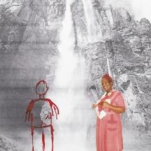 Izithombe Zendawo Esizithandayo 6, Photomontage and pen on photocopy, 16x21cm
