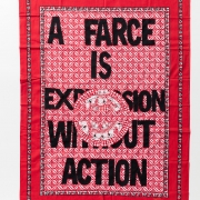 A farce, Khanga textile and cotton embroidery, 155xx115 cm