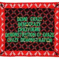 Demo Crazy, Embroidery on Kanga, 258x299cm, 2017