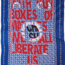1985, embroidery on kanga, 155x110cm
