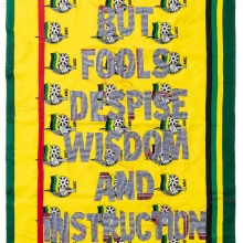 afronova gallery lawrence lemaoana But Fools despise Wisdom and Instruction, Kanga textile and cotton embroideries, 157x117cm