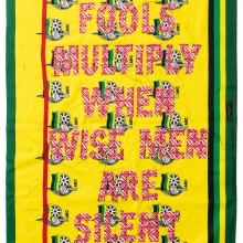 Fools multiply when Wise Men are Silent, Kanga textile and cotton embroideries, 157x117cm