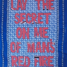 red fire, embroidery on kanga, 155x110cm