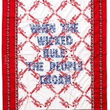 When the wicked rule, Kanga textile and cotton embroideries, 155x115cm