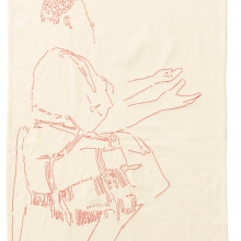 Waiting for Gebane, Red cotton threads on Kaffir Sheet, 150x90cm, 2018 - 2019