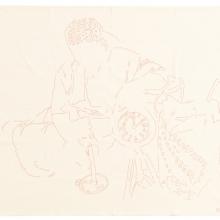 Waiting for Gebane, Red cotton threads on Kaffir Sheet, 183 x 140 cm, 2018