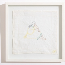 Untitled 2, Cotton embroideries on House Linen, 42X42cm