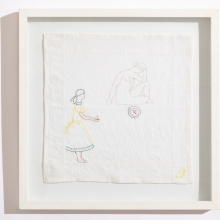 Untitled 4, Cotton embroideries on House Linen, 42X42cm