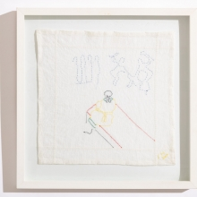 Untitled 3, Cotton embroideries on House Linen, 42X42cm
