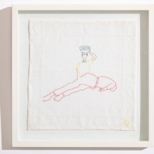 Untitled 1, Cotton embroideries on House Linen, 42X42cm