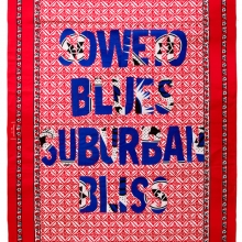 soweto blues, suburban bliss, Khanga textile and cotton embroidery, 155xx115 cm